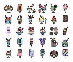 Icone di vettore del profilo di colore del menu del gelato
