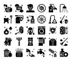 icone vettoriali di glifo igiene