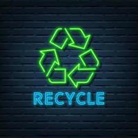 riciclare il segno al neon vettore