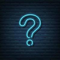 segno al neon punto interrogativo vettore
