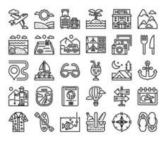 vacanza contorno icone vettoriali