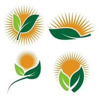 imposta i loghi di ecologia dell'icona di elemento di natura foglia verde su sfondo bianco .vector illustratore vettore