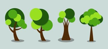 simboli, albero icona verde con belle foglie, illustrazione vettoriale