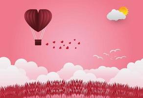 palloncini di San Valentino a forma di cuore che volano sopra il fondo di vista dell'erba, stile di arte della carta. illustratore vettoriale