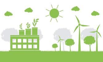ecologia di fabbrica, icona dell'industria, turbine eoliche con alberi ed energia pulita del sole con idee di concetto ecologico. illustrazione di vettore