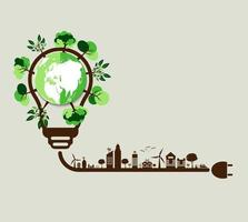 concetto di ecologia, il mondo è nel verde della lampadina a risparmio energetico, illustrazione vettoriale