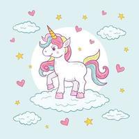 illustrazione di carattere colorato unicorno carino vettore