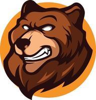 illustrazione della mascotte testa di orso bruno arrabbiato grizzly vettore