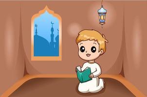 ragazzino musulmano che legge un libro all'illustrazione del fumetto del ramadan kareem vettore