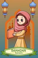 ragazza felice nell'illustrazione del fumetto del ramadan kareem vettore
