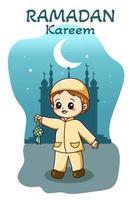 ragazzo musulmano felice digiuno all'illustrazione del fumetto del ramadan vettore