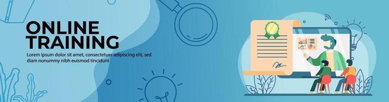 progettazione di banner web di formazione online vettore