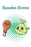 simpatico riso ramadan con illustrazione di cartone animato di pollo vettore