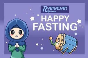 ragazza musulmana saluti felice digiuno all'illustrazione del fumetto di ramadan kareem vettore