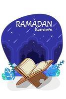 koran nell'illustrazione del fumetto del ramadan kareem vettore
