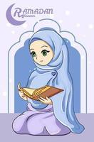 bella ragazza che legge un corano all'illustrazione del fumetto di ramadan kareem vettore