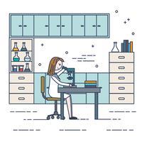 Illustrazione femminile di vettore dello scienziato