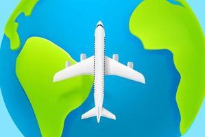 aerei passeggeri che volano ciao sopra la terra. aerei moderni con ombra vettore
