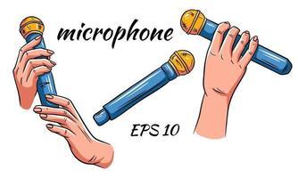 set microfono. microfono nelle mani isolate vettore