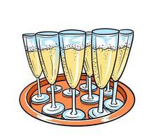 vassoio con bicchieri di champagne in stile cartone animato. vettore