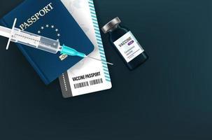 concetto di passaporto di vaccinazione. Illustrazione di vettore di stile 3D con fiala, passaporto e siringa
