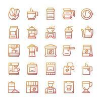 set di icone di caffè con stile sfumato. vettore