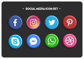 Set di icone di social media colorate piatte semplici vettore