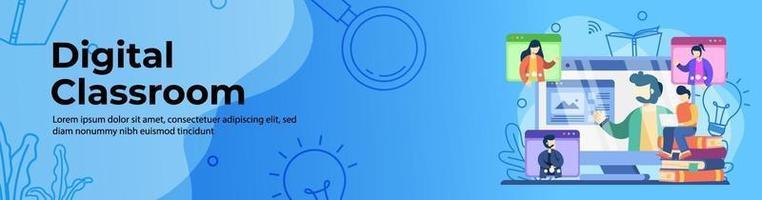 design di banner web di classe digitale vettore