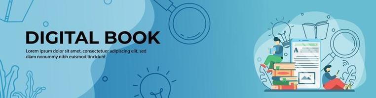 design di banner web libro digitale. studente che legge un libro online su tablet. formazione in linea, aula digitale. concetto di e-learning. banner di intestazione o piè di pagina. vettore