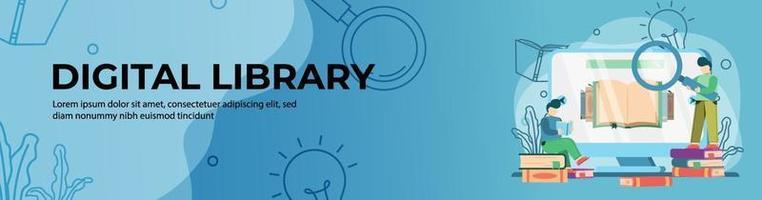 progettazione di banner web biblioteca digitale. studente che legge e cerca libri in linea sul web della biblioteca. formazione in linea, aula digitale. concetto di e-learning. banner di intestazione o piè di pagina. vettore
