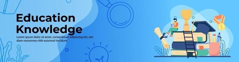 progettazione di banner web di concetto di conoscenza di istruzione. studio dello studente su una pila di libri con trofeo e rotolo di laurea. formazione in linea, aula digitale. concetto di e-learning. banner di intestazione o piè di pagina. vettore