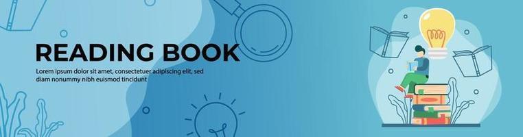lettura del libro web banner design. studente che legge un libro sulla pila di libri per trarre ispirazione. formazione in linea, aula digitale. concetto di e-learning. banner di intestazione o piè di pagina. vettore