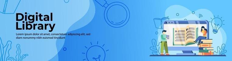 progettazione di banner web biblioteca digitale. studenti che leggono un libro sul web della biblioteca online. formazione in linea, aula digitale. concetto di e-learning. banner di intestazione o piè di pagina. vettore