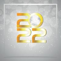 Effetto testo dorato 2022, cartolina d'auguri di felice anno nuovo invito su sfondo creativo vettore