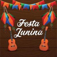 festa junina evento brasiliano con chitarra musicale e lanterna di carta vettore