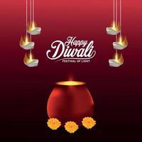 illustrazione vettoriale realistica di felice diwali celebrazione biglietto di auguri e sfondo