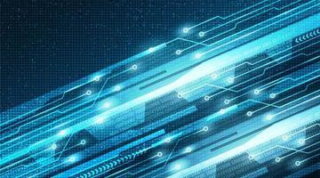 luce velocità futura sullo sfondo della tecnologia del microchip del circuito, design concept digitale e internet hi-tech, spazio libero per il testo inserito, illustrazione vettoriale. vettore