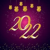 2022 felice anno nuovo effetto testo dorato su sfondo creativo vettore