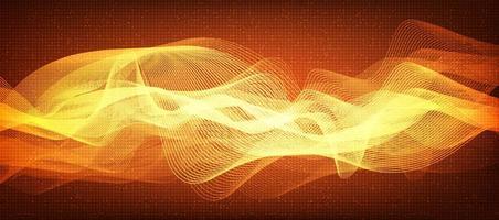 moderna linea digitale arancione, tecnologia delle onde sonore e concetto di onde di terremoto, design per studio musicale e scienza, illustrazione vettoriale. vettore