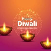 felice diwali celebrazione biglietto di auguri con il vettore diwali diya