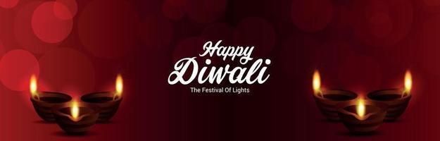 felice diwali festival di banner di invito leggero con diwali diya creativo vettore