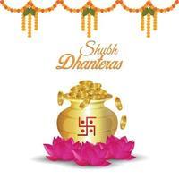 biglietto di auguri di invito shubh dhanteras con vaso di monete d'oro vettoriale e fiore di loto