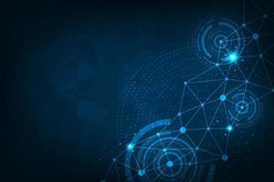 tecnologia di sfondo vettoriale nel concetto di rete dati.