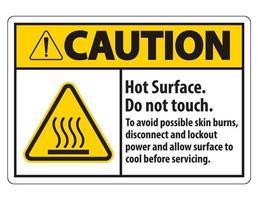 superficie calda, non toccare, per evitare possibili ustioni della pelle, scollegare e bloccare l'alimentazione e lasciare raffreddare la superficie prima di eseguire la manutenzione segno simbolo isolato su sfondo bianco, illustrazione vettoriale