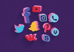 Le icone sociali di media hanno fissato il vettore 3D
