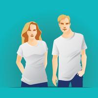 T-shirt modello con corpo uomo e donna
