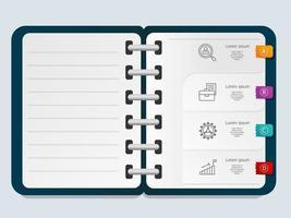 modello astratto del libro di nota dell'elemento di presentazione di infographics con l'icona di affari vettore