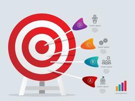 modello di elemento infografica target dartboarad con icone di affari vettore