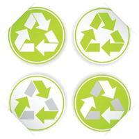 set di simboli di riciclo, stile adesivo vettore