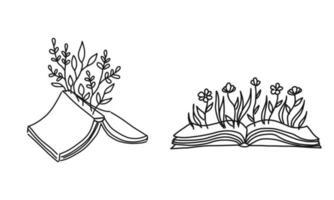 libro aperto con rametti di fiori. illustrazione concettuale di scrivere il proprio futuro. concetto di vettore per libreria, club di letteratura o biblioteca. illustrazione di schizzo